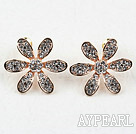 Fashion Style Flower Shape Rhinestone Gold Plated Hypoallergenic Studs Earrings