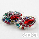 Fashion Style Horse Eye Shape Imitation Ruby and Multi Color Rhinestone Studs Earrings