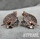 Discount Fashion Style Leaf Shape Rhinestone with Butterfly Gold Plated Hypoallergenic Studs Earrings