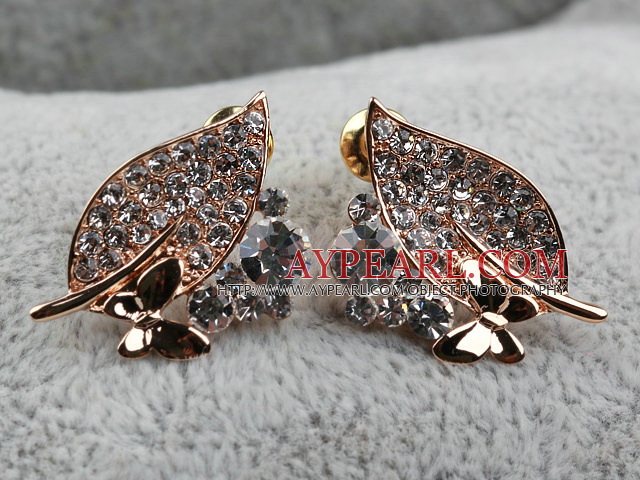 Fashion Style Leaf Shape Rhinestone with Butterfly Gold Plated Hypoallergenic Studs Earrings