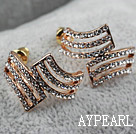 Discount Fashion Style Irregular Shape Rhinestone Gold Plated Hypoallergenic Studs Earrings