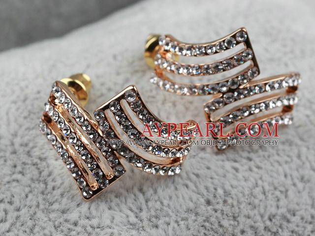 Fashion Style Irregular Shape Rhinestone Gold Plated Hypoallergenic Studs Earrings