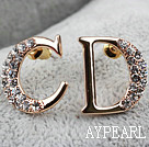 Fashion Style C D Alphabet Shape Rhinestone Gold Plated Hypoallergenic Studs Earrings