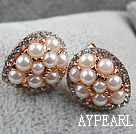 Immitation Round Pearl with Drop Shape Rhinestone Gold Plated Hypoallergenic Studs Earrings