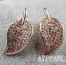Fashion Style Leafe Shape Rhinestone Gold Plated Hypoallergenic Studs Earrings