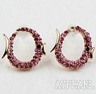 Discount Fashion Style Fish Shape Pink Rhinestone Gold Plated Hypoallergenic Studs Earrings
