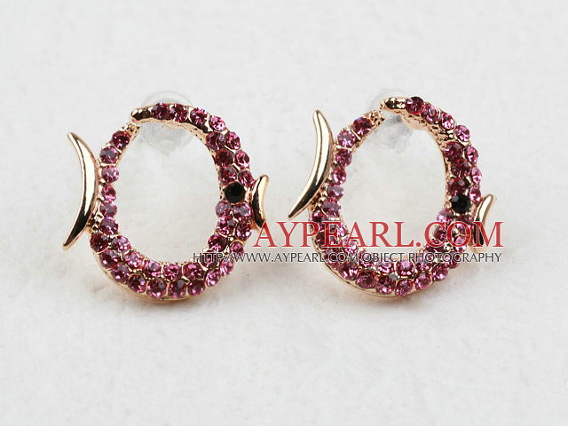 Fashion Style Fish Shape Pink Rhinestone Gold Plated Hypoallergenic Studs Earrings