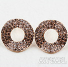 Discount Fashion Style Donuts Shape Rhinestone Gold Plated Hypoallergenic Studs Earrings