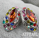 Fashion Style Horse Eye Shape Imitation Gemstone and Multi Color Rhinestone Studs Earrings