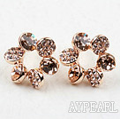 Fashion Style Flower Shape Rhinestone Gold Plated Hypoallergenic Studs Earrings