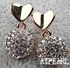 Fashion Style Half Ball Shape Rhinestone with Heart Accessory Gold Plated Hypoallergenic Studs Earrings