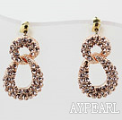 Fashion Style Digital 8 Shaped Rhinestone Gold Plated Hypoallergenic Studs Earrings