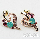 Discount Fashion Style Streamline Shaped Rhinestone Gold Plated Hypoallergenic Studs Earrings