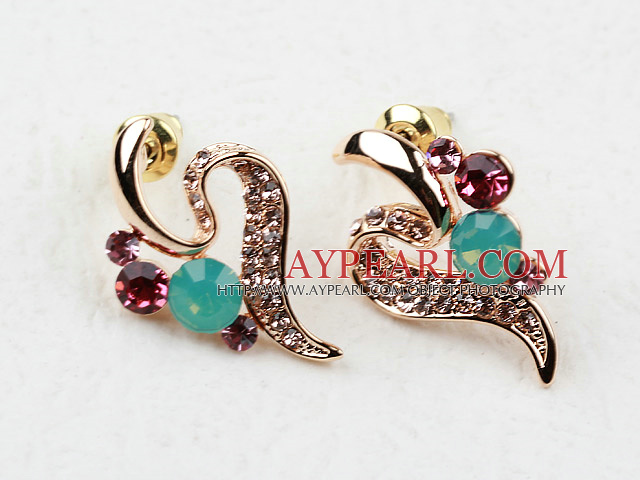 Fashion Style Streamline Shaped Rhinestone Gold Plated Hypoallergenic Studs Earrings