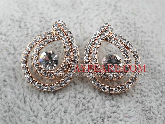 Fashion Style Drop Shaped Doulbe Rhinestone Gold Plated Hypoallergenic Studs Earrings