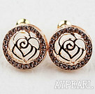 Fashion Style Hollow Rose Flower and Round Shape Rhinestone Gold Plated Hypoallergenic Studs Earrings