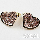 Fashion Style Distorted Heart Shape Rhinestone Gold Plated Hypoallergenic Studs Earrings