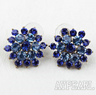 Fashion Style Flower Shape Imitation Sapphire Rhinestone Studs Earrings