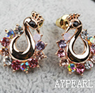 Fashion Style Peacock Shape Rhinestone Gold Plated Hypoallergenic Animal Studs Earrings