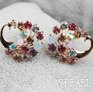 Fashion Style Peacock Shape Multi Color Rhinestone Gold Plated Hypoallergenic Animal Studs Earrings
