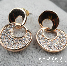 Fashion Style Numeric Shape Rhinestone Gold Plated Hypoallergenic Studs Earrings