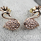 Fashion Style Swan Shape Rhinestone Gold Plated Hypoallergenic Animal Studs Earrings