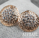Discount Fashion Style Round Shape Hollow Rhinestone Gold Plated Hypoallergenic Studs Earrings