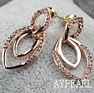Fashion Style Horse Eye Shape Rhinestone Gold Plated Hypoallergenic Studs Earrings