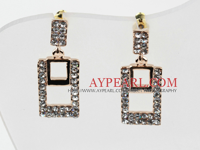 Fashion Style Rectangle Shape Rhinestone Gold Plated Hypoallergenic Studs Earrings