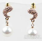 Discount Immitation Round Pearl and Moon Shape Rhinestone Gold Plated Hypoallergenic Studs Earrings