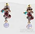 Dangle style multi couleur or plaqué strass Boucles d'oreilles Clous Hypoallergénique