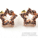 Discount Fashion Style Star Shape Rhinestone Gold Plated Hypoallergenic Studs Earrings