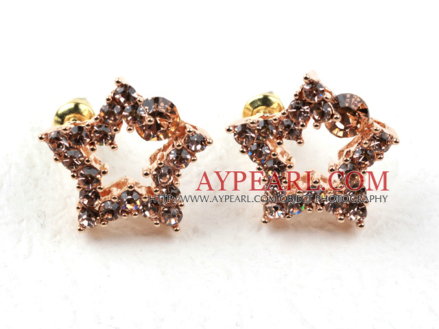 Fashion Style Star Shape Rhinestone Gold Plated Hypoallergenic Studs Earrings