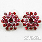 Fashion Style Flower Shape Imitation Ruby Rhinestone Studs Earrings