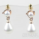 Fashion Style Round and Drop Immitation Pearl with Rhinestone Gold Plated Hypoallergenic Studs Earrings