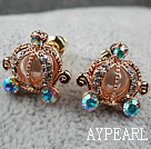 Fashion Style Pumpkin Shape Rhinestone Gold Plated Hypoallergenic Studs Earrings