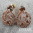 Fashion Style Snail Shape Rhinestone Gold Plated Hypoallergenic Studs Earrings