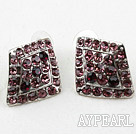 Fashion Style Rhombus Shape Purple Rhinestone Oversized Studs Earrings