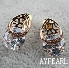 Fashion Style Hollow Drop Shape Rhinestone Gold Plated Hypoallergenic Studs Earrings