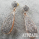 Long Style Big Drop Rhinestone Gold Plated Hypoallergenic Studs Earrings