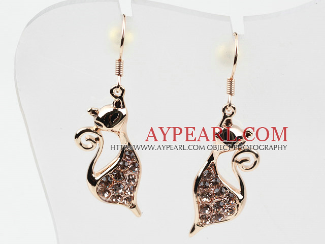 5ee964aa2 Fashion Style Cat Shape Rhinestone Gold Plated Hypoallergenic Animal Studs  Earrings