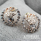 Discount Fashion Style Hollow Rose Flower Shape Rhinestone Gold Plated Hypoallergenic Studs Earrings