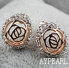 Discount Fashion Style Hollow Rose Flower Rhinestone Gold Plated Hypoallergenic Studs Earrings