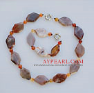 chunky sryle agate necklace bracelet set with moonlight clasp