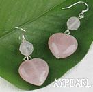 lovely heart shape rose quartze earrings