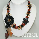 flower  necklace black and red agate necklace with gem clasp