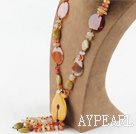 Y Style Agate and Yellow Opal Necklace
