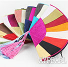 Multi Color Fan Shape Jewelry Bags (10 Pcs Color Random)