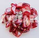 Decent White Clear Crystal And Red Shell Flower Brooch