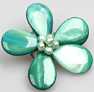 Beautiful Natural Green Pearl Drop Shape Shell Flower Brooch